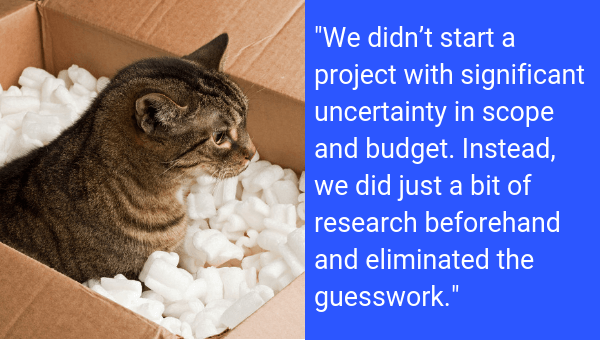 An unexpected cat in a box is a risk management example in project scope