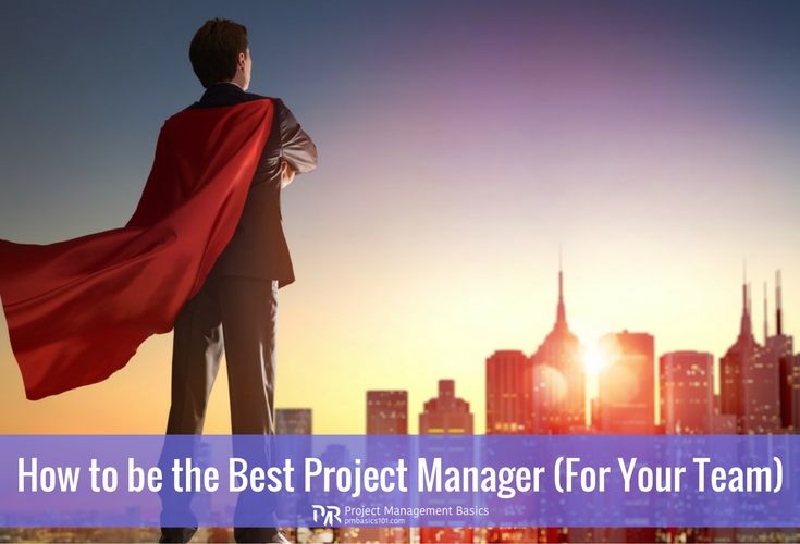 The best project manager stands in a cloak of a superhero