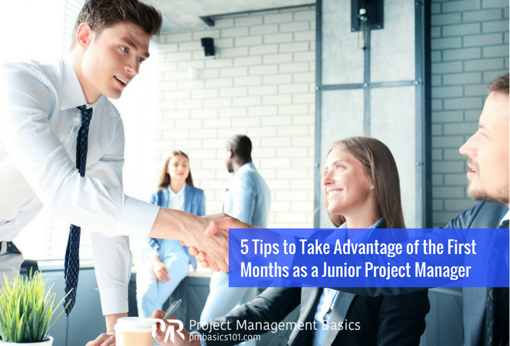 Junior project manager shakes hands with a stakeholder