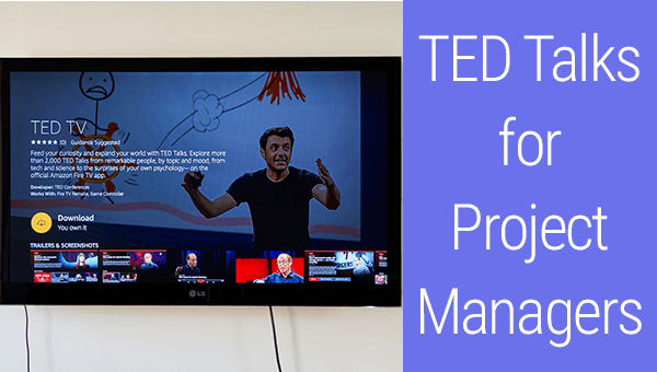 A TED Talk for Project Managers on a Screen of a TV