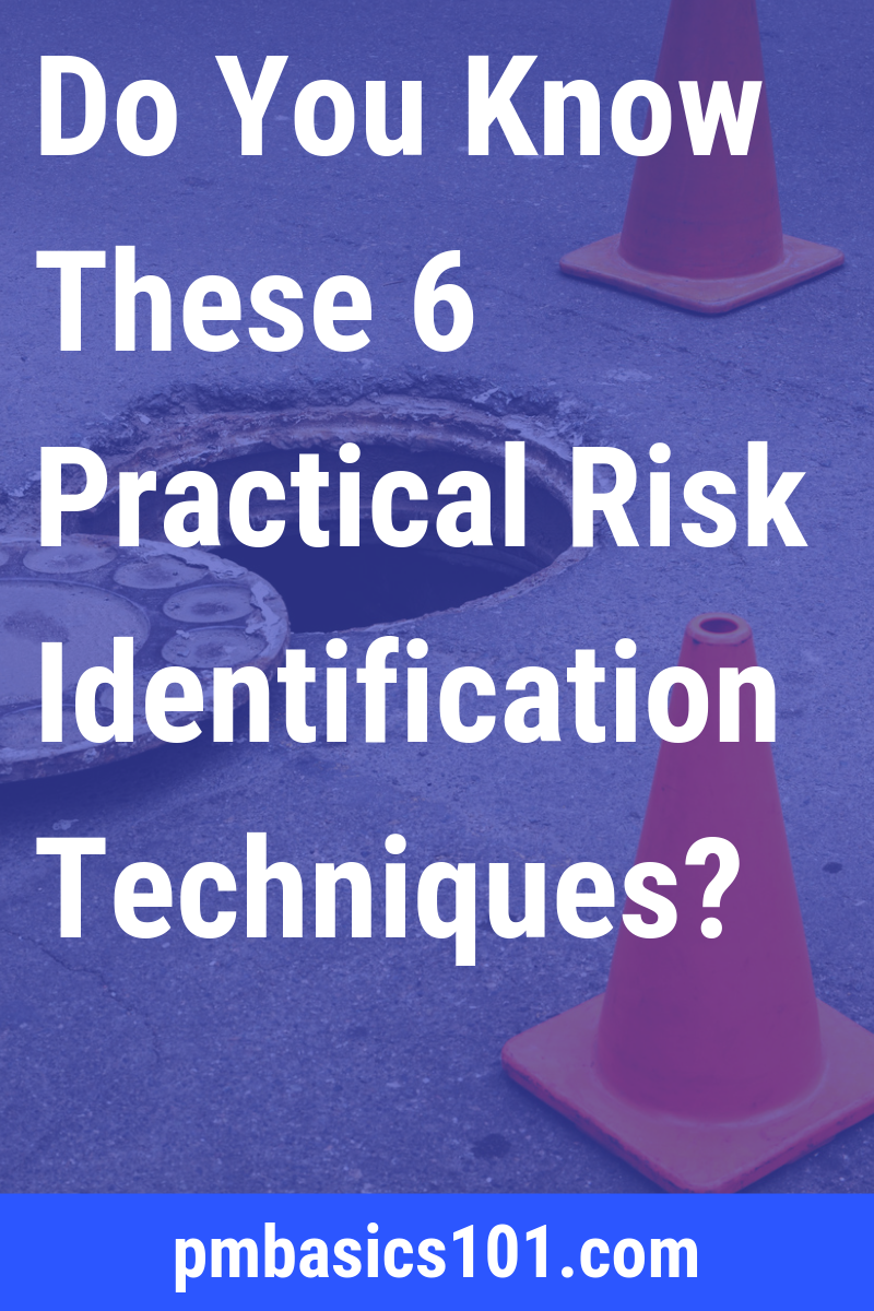 Project Risk Management include many different risk identification techniques. In this article, you will learn six practical techniques you can use on daily basis on your project. Save the Pin and click through to read the article.