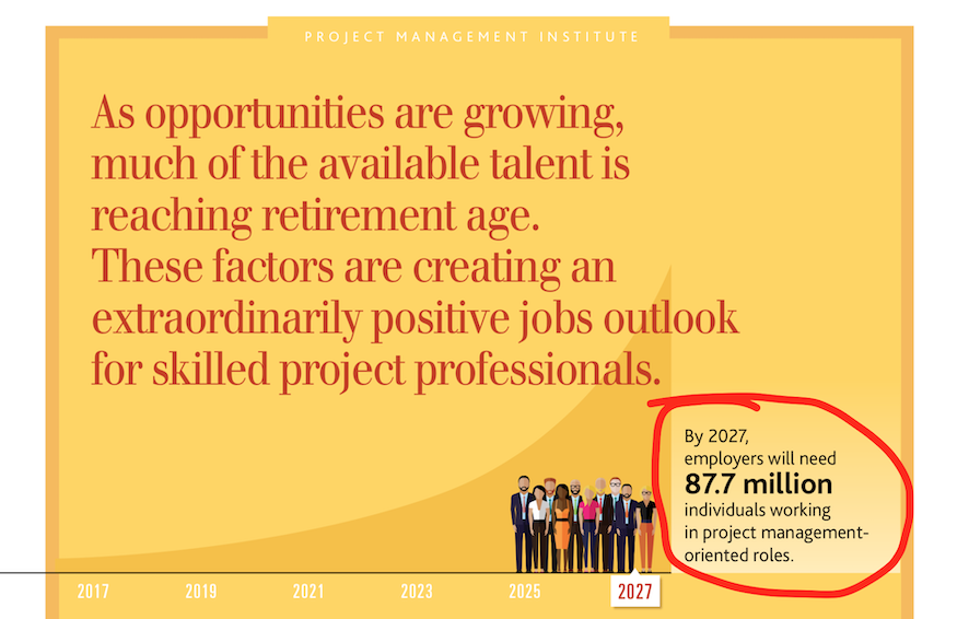 So, it's never been a better time to become a PM! [Image from Project Management Job Growth and Talent Gap Report // 2017-2027]
