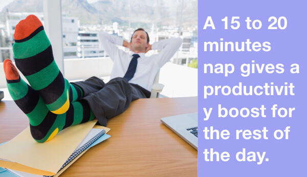 A 15 to 20 minutes nap gives a productivity boost for the rest of the day.