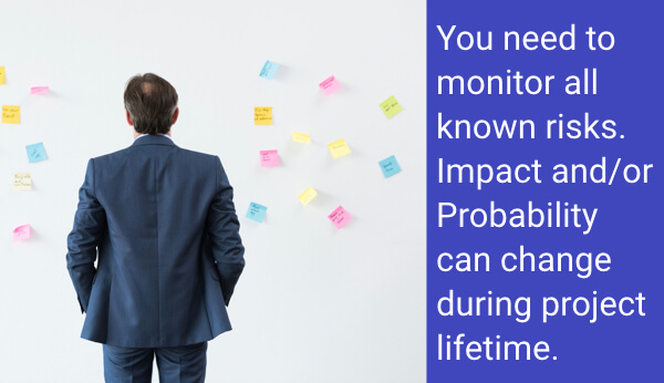 You need to monitor all known risks. Impact and/or Probability can change during project lifetime.