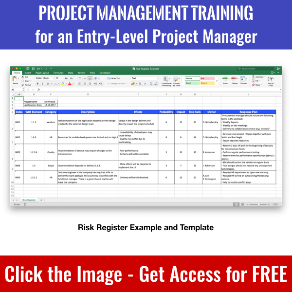 Click the image to get access to Risk Register Example and Template and whole PM Basics Library.