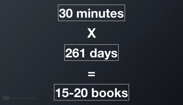30 minutes multiplied by 261 days equals 15-20 book on project management and leadership.