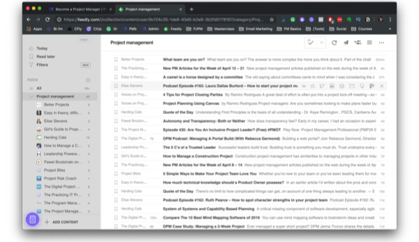 Screenshot of Feedly for project managers to use.