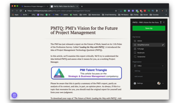 Evernote's Web Clipper helps project managers to collect learning materials